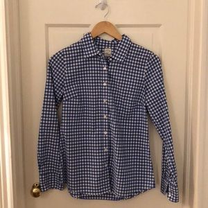 J. Crew Perfect Shirt in Blue Gingham (Size 2)